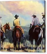 Board Meeting  Cowboy Painting Canvas Print