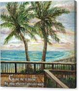 Boardwalk With Two Palms Psalm 143 Canvas Print