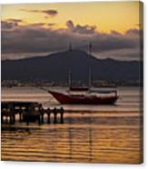 Boat And The Sunset Canvas Print