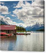 Boat House And Canoes On A Jetty At Maligne Lake In Canada Canvas Print