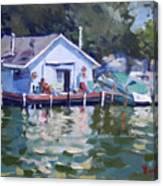 Boat House At Tonawanda Canal Canvas Print