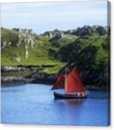 Boat In The Sea, Galway Hooker, County Canvas Print