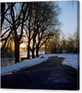 Boat Launch In Winter Canvas Print