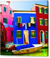 Boat Matching House Canvas Print