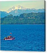 Boat On Llanquihue Lake From Puerto Varas-chile Canvas Print