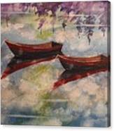 Boat Reflections Watercolor Painting Canvas Print