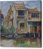 Boat Ride Along The Malacca River Canvas Print