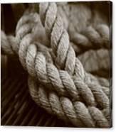 Boat Rope Sepia Tone Canvas Print