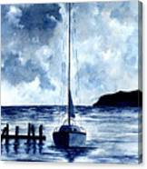Boat Scene - Blue Sky Canvas Print