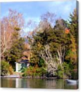 Boat Shed On The Waikato River Canvas Print