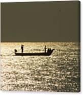Boat Silhouette In Sunrise At Marina Beach, Chennai Canvas Print
