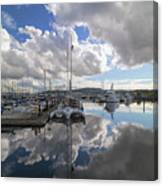 Boat Slips At Anacortes Cap Sante Marina In Washington State Canvas Print
