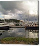 Boat Slips At Anacortes Marina In Washington State Canvas Print