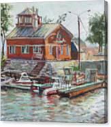 Boat Station On Krestovsky Island In St.-petersburg Canvas Print