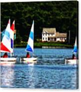 Boat - Striped Sails Canvas Print
