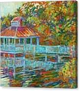 Boathouse At Mountain Lake Canvas Print