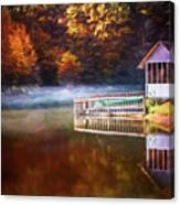 Boathouse In Autumn Oil Painting Canvas Print
