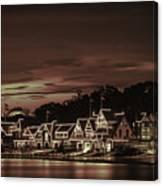 Boathouse Row Philadelphia Pa Night Retro Canvas Print