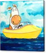 Boating Cow Canvas Print