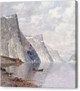 Boating On A Norwegian Fjord Canvas Print