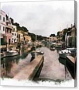 Boats Anchored Canvas Print