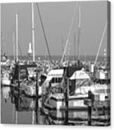 Boats And Reflections B-w Canvas Print
