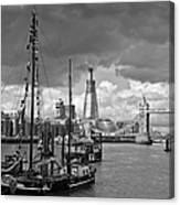 Boats And Shard And Tower Bridge Bw Canvas Print