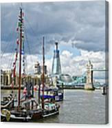 Boats And Shard And Tower Bridge Canvas Print