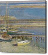 Boats At A Landing Canvas Print