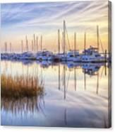 Boats At Calm Canvas Print