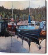 Boats At Dock Heriot Bay Inn Canvas Print