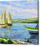 Boats At Lake Victoria Canvas Print