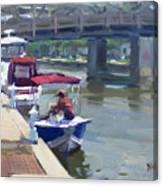 Boats At North Tonawanda Canal Canvas Print