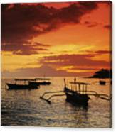 Boats At Senggigi Canvas Print
