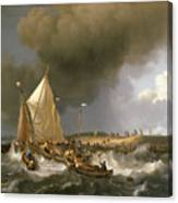 Boats In A Storm  Canvas Print