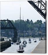 Boats In Ballard Locks Canvas Print