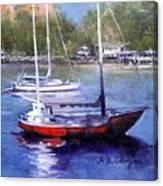 boats in Brisbane river Canvas Print