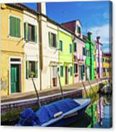 Boats In Burano Canvas Print