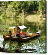 Boats In Lake Ankor Thom Canvas Print