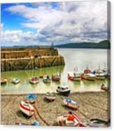 Boats In The Harbor At Clovelly In Devon Canvas Print