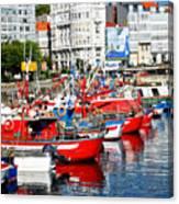Boats In The Harbor - La Coruna Canvas Print
