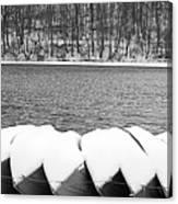 Boats - Lower Twin Lake Bw Canvas Print