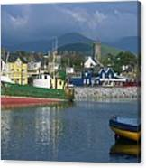 Boats Moored At A Harbor, Dingle Canvas Print