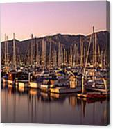 Boats Moored At A Harbor, Stearns Pier Canvas Print