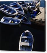 Boats Moored At Dock Canvas Print
