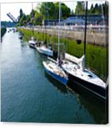 Boats Moving Into Chittenden Locks Seattle Canvas Print