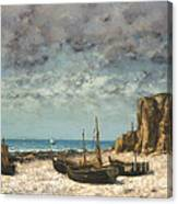 Boats On A Beach, Etretat Canvas Print