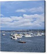Boats On Blue Water Canvas Print