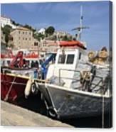 Boats On Hydra Canvas Print