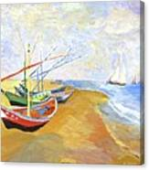 Boats On The Beach At Saintes-maries After Van Gogh Canvas Print